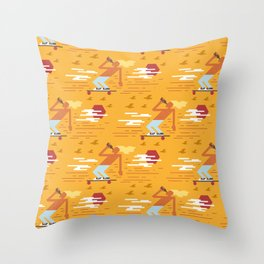 Skateboarders Holiday Pattern Throw Pillow