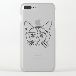 One line Siamese Cat Clear iPhone Case