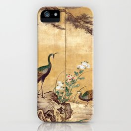 Kano Mitsunobu Birds, Trees, and Flowers iPhone Case
