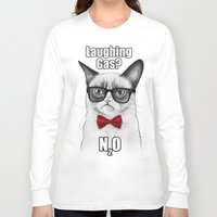 chemistry Long Sleeve T-shirts featuring Grumpy Chemistry Cat by Olechka