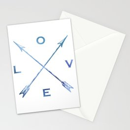 Watercolor Love Arrows Blue Stationery Cards