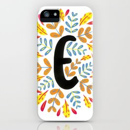 Letter 'E' Initial/Monogram With Bright Leafy Border iPhone Case