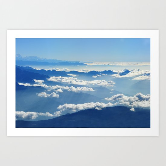 Mountains and Clouds in Nepal  Art Print