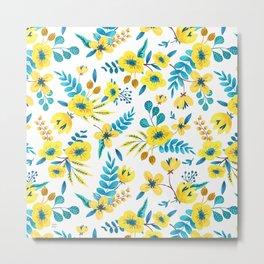 Floral Yellow Pattern Metal Print