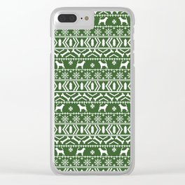 Bloodhound fair isle christmas sweater green and white minimal dog silhouette holiday gifts Clear iPhone Case
