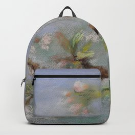 Red Robin Small bird on a blooming twig Wildlife spring scene Pastel drawing Backpack