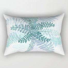 Blue Fern Watercolor Minimalist Rectangular Pillow