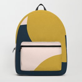 Horizon. Mustard Yellow Sun Dot on Pale Blush Pink and Navy Blue Color Block. Minimalist Geometric Backpack
