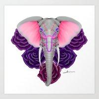 Elephants & Flowers Art Print