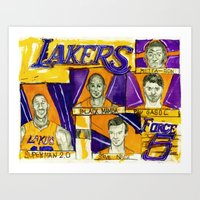 lakers Art Prints featuring Lakers Force 5///// by Maddison Bond