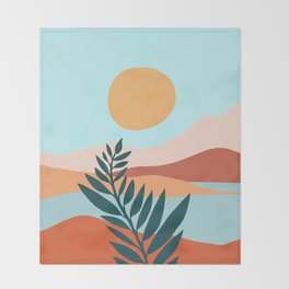 Mediterranean Summer - Maximal Landscape Illustration Throw Blanket