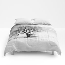 Black and White Tree in Winter Comforters
