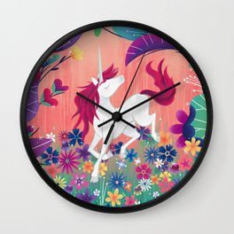 Floral Frolic Unicorn Wall Clock