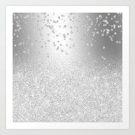 Modern silver glitter ombre metallic sparkles confetti Art Print