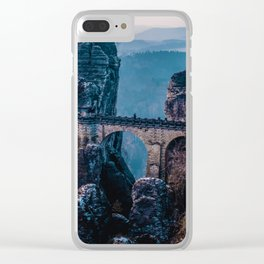 Mountain Waterfall Bridge (Color) Clear iPhone Case