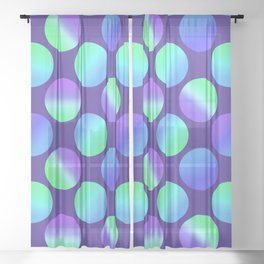 Gradient Polka Dots (Purple and Blue and Green)! Sheer Curtain