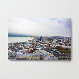 Rainbow Roofs and Buildings of Reykjavik Iceland Metal Print