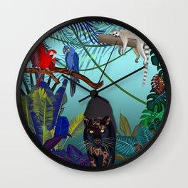 Night in the wild jungle  Wall Clock