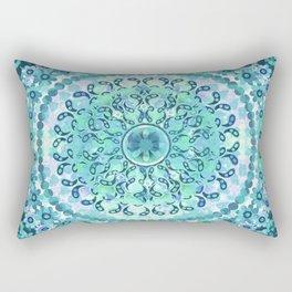 Aqua Mosaic Mandala Rectangular Pillow