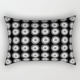 Evil Eye Amulet Talisman Black White Gray on black Rectangular Pillow