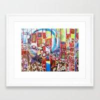 coasters Framed Art Prints featuring Roller Coaster by Pajaritaflora, artist MaryAnn Ead