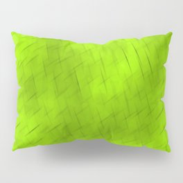 Line texture of green oblique dashes with a dark intersection on a luminous charcoal. Pillow Sham