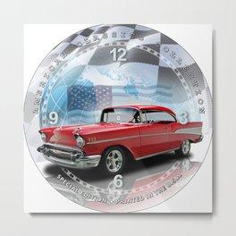 "1957 Chevrolet Bel Air Decorative 10"" Wall Clock (017ac) Metal Print"