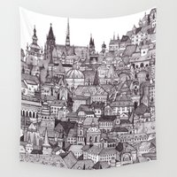 prague Wall Tapestries featuring Prague by Justine Lecouffe