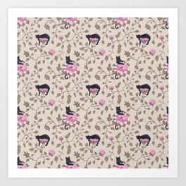 Cats and flowers on beige background Art Print