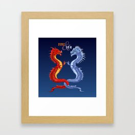 Fire & Ice Dragons Framed Art Print