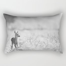 Baby Deer (Black and White) Rectangular Pillow