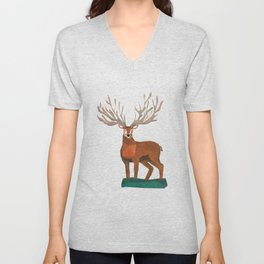 Majestic Stag in Forest Unisex V-Neck