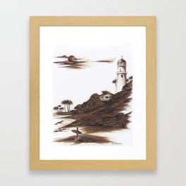 Diamond Head Lighthouse in Browns and Bronze Framed Art Print