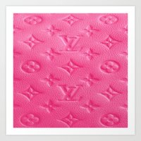lv Art Prints featuring Pink LV by Luxe Glam Decor