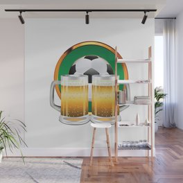 Beer glasses and Soccer Ball in green circle Wall Mural