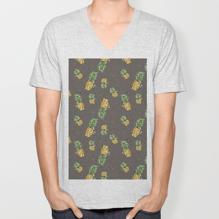Kaki pineapple pattern Unisex V-Neck