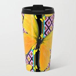 Golden Yellow Butterflies Pattern On Black Travel Mug