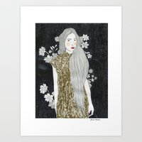 gold glitter Art Prints featuring Gold Glitter  by Juana Andres