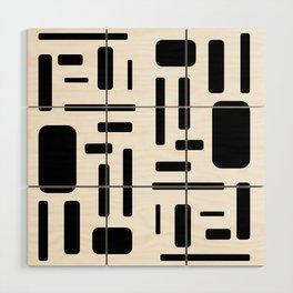 Black and white geometric design Wood Wall Art