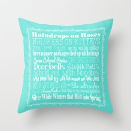 My Favorite Things - Blue Throw Pillow