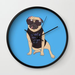 Sun's Out Pugs Out Wall Clock