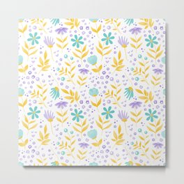 teal flowers and yellow leaves Metal Print