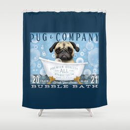 Pug dog bubble bath clawfoot tub art stephen fowler Shower Curtain