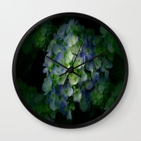 hydrangea Wall Clocks featuring Hydrangea by Sartoris ART