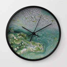 Slow Down II - Olive Sage Green Pattern Abstract Art Fluid Marble Design Wall Clock