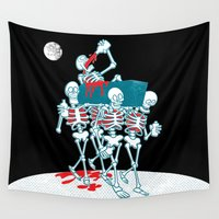 day of the dead Wall Tapestries featuring Day of the Dead by Studio Drawgood