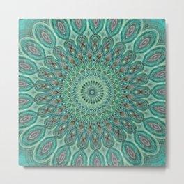 Mint Dreams Mandala Metal Print