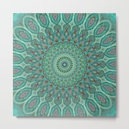 Mint Dreams Mandala Metal Print