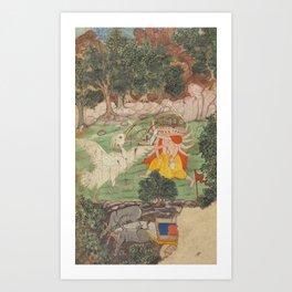Battle of Ravana and Jatayu - 17th Century Classical Hindu Art Art Print