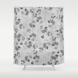Black and White Leaves Pattern #2 Shower Curtain